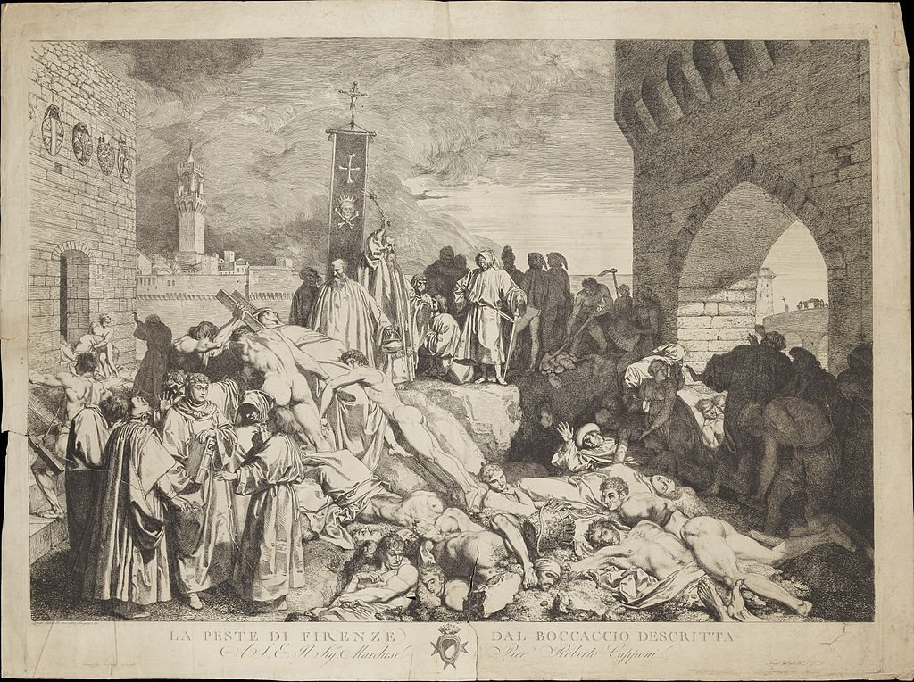 The plague of Florence in 1348, as described in Boccaccio's Decameron ('Il decameron'). Etching by L. Sabatelli