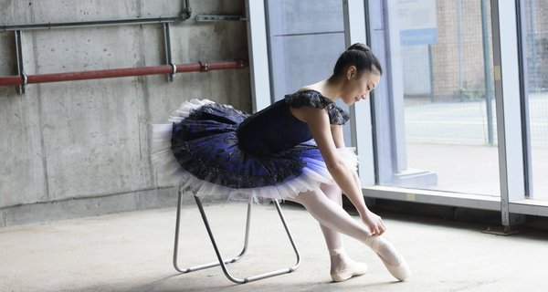 A student of Central School of Ballet at the School's new premises, Paris Gardens
