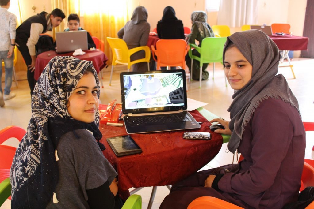 Palestinian women using Minecraft as part of the Block by Block project