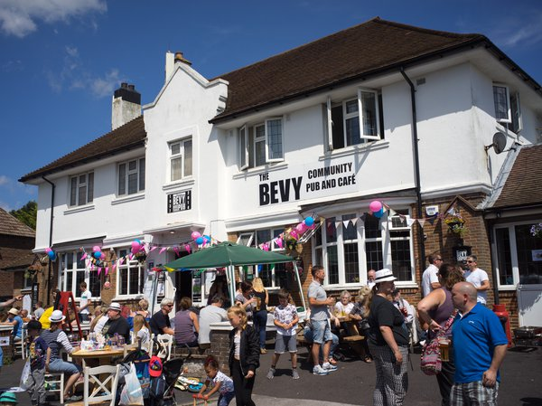 The Bevy pub with people sitting outside