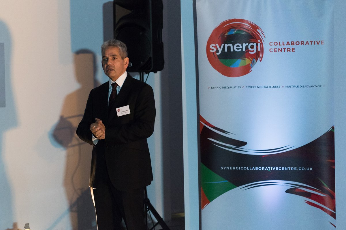 Professor Kamaldeep Bhui, director of Synergi Collaborative Centre, speaks at launch event