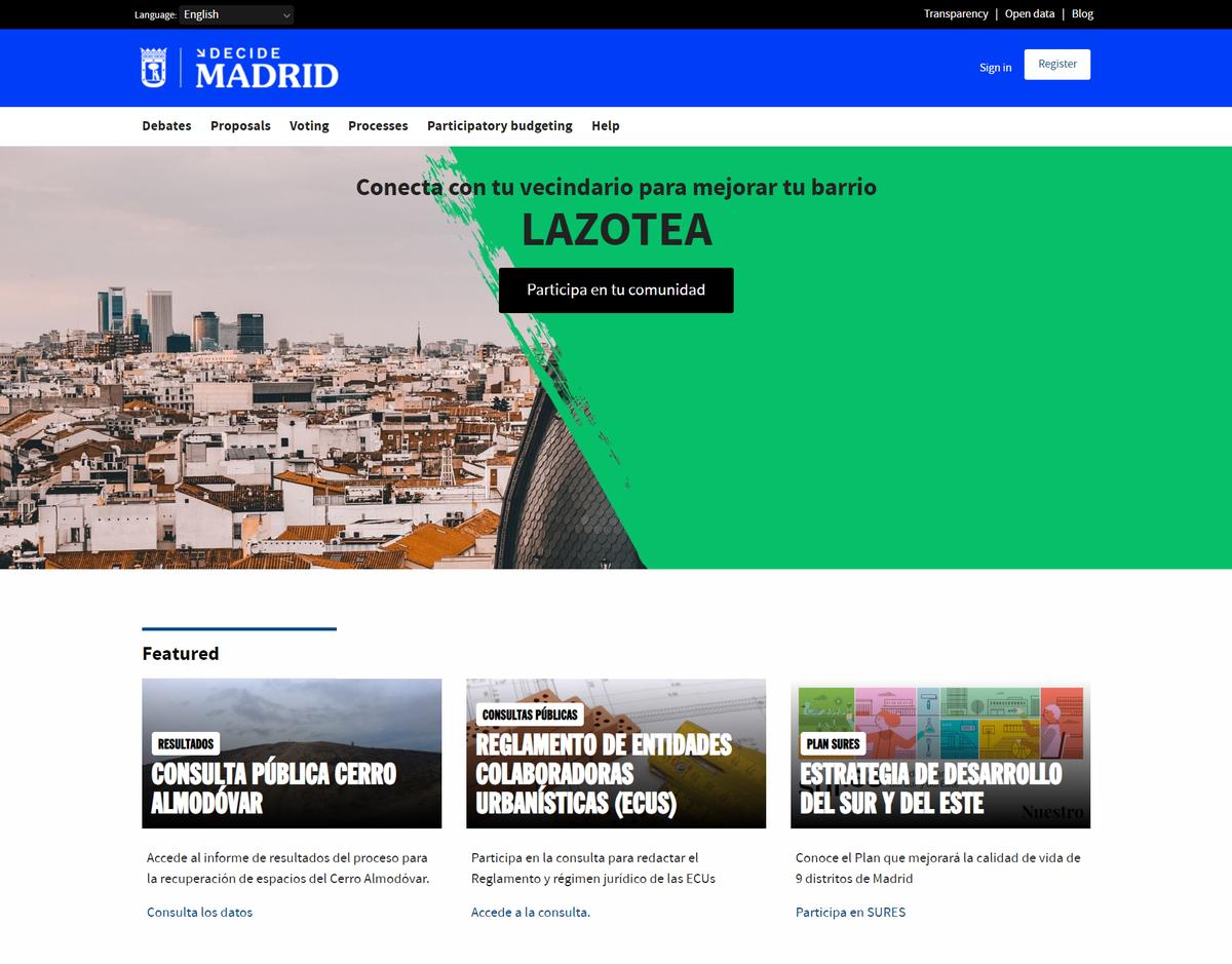 Decide Madrid website