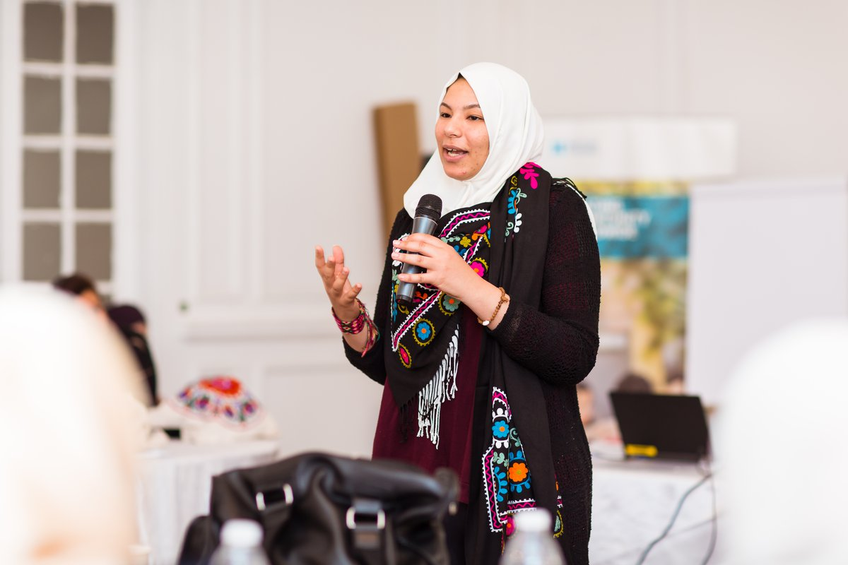 Esraa Fathy addresses Creative Enterprise Programme workshop participants in Egypt