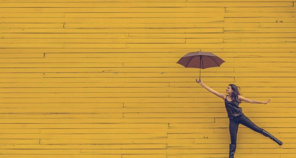 Floating with umbrella