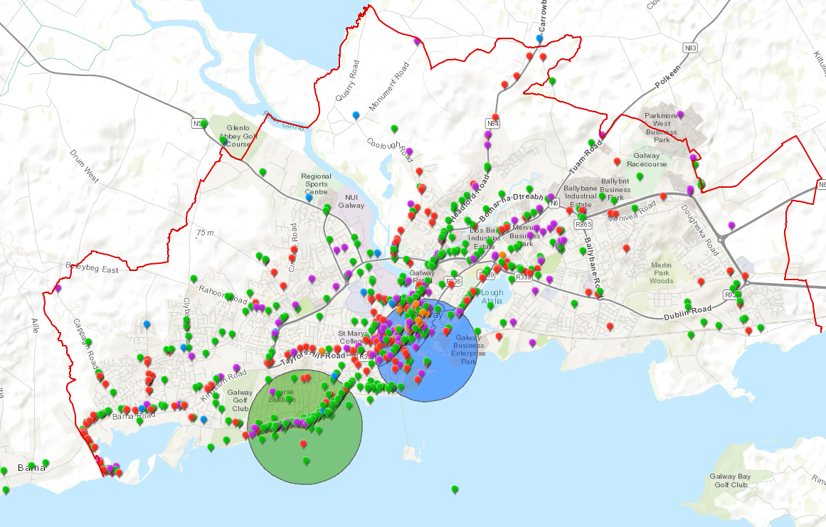 Screenshot of mapping tool from Galway City Council, which crowdsourced ideas to respond to mobility issues as a result of COVID-19