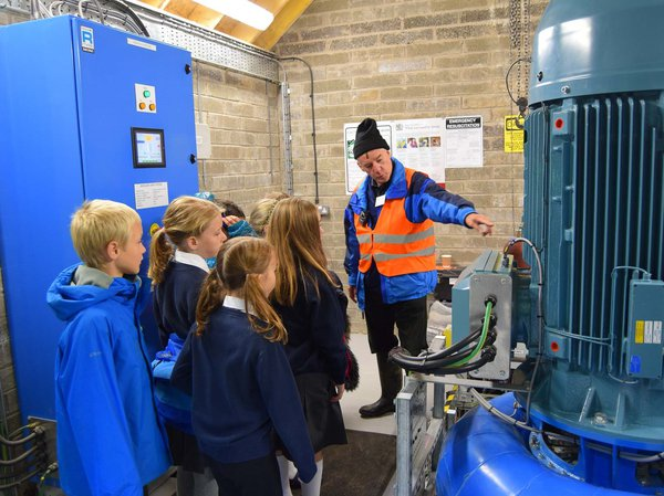 School children at tour of hydro power plant
