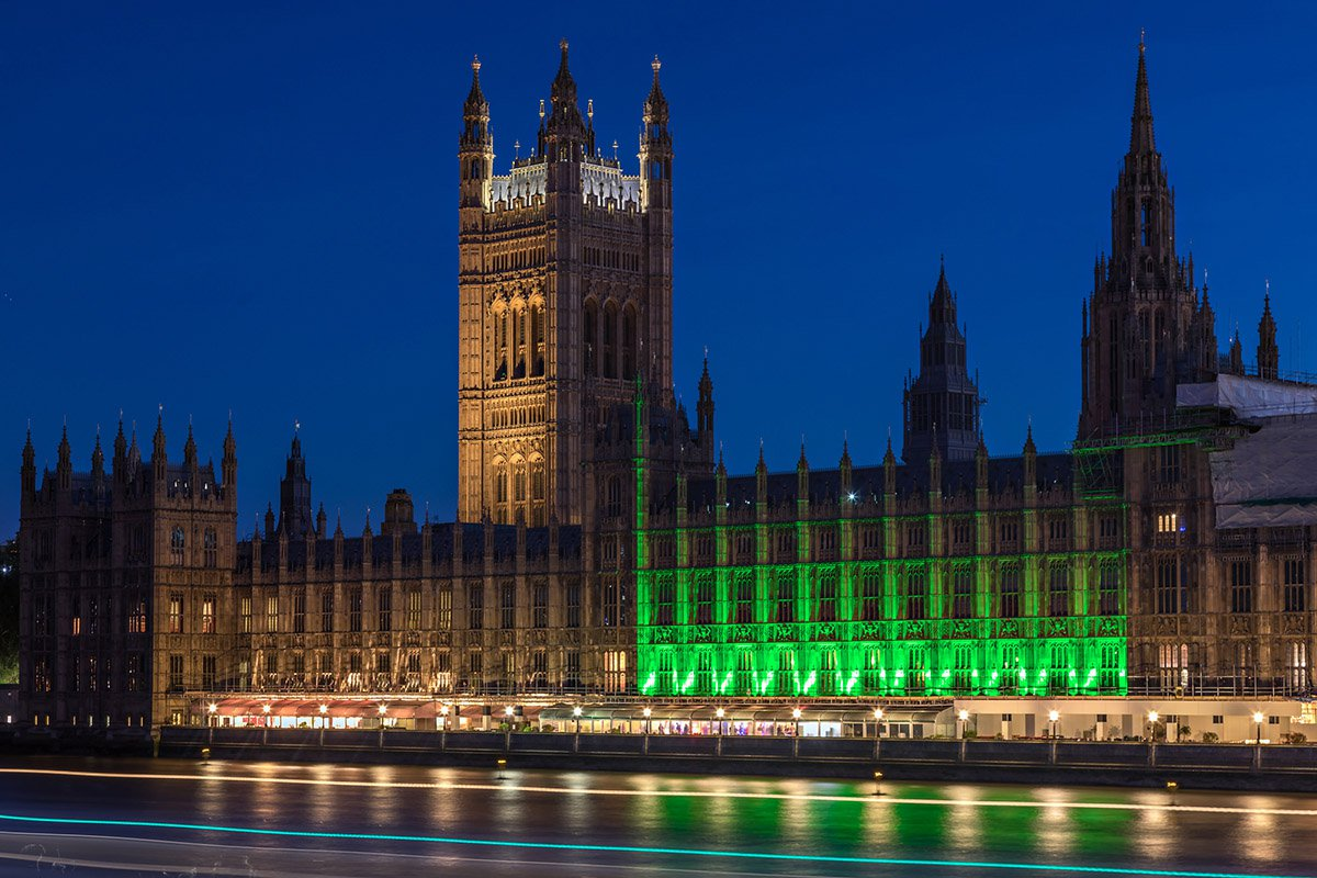 Houses of Parliament - green for mental health awareness