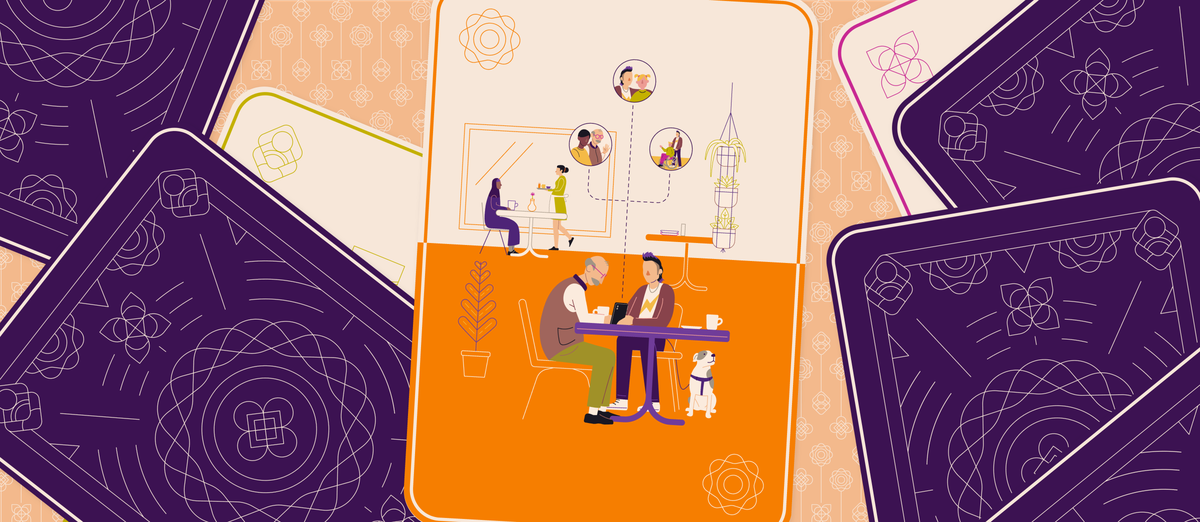 An illustration showing people eating at a cafe