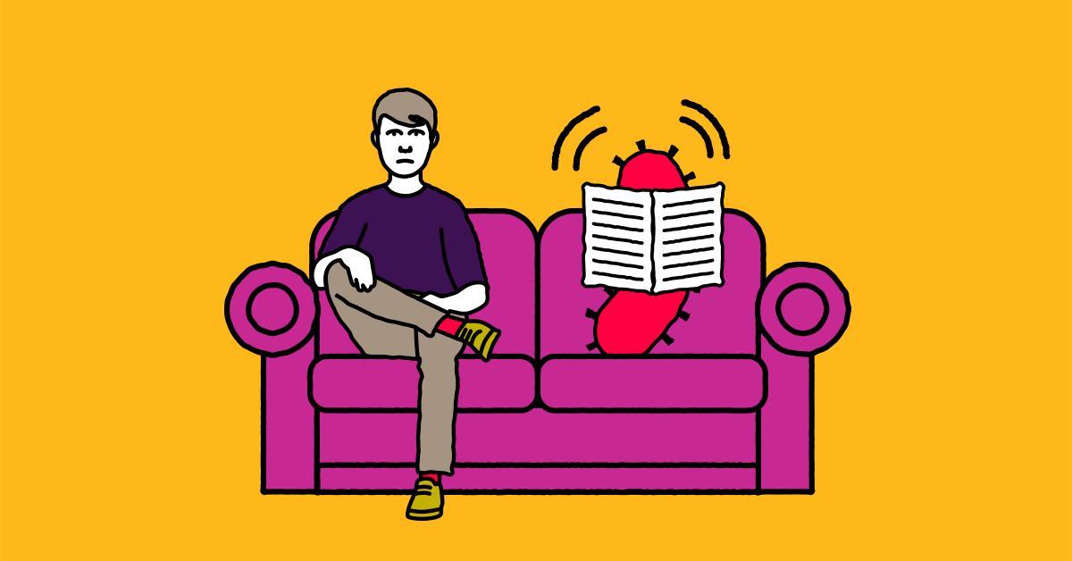 A man sits on a sofa next to a superbug reading a newspaper
