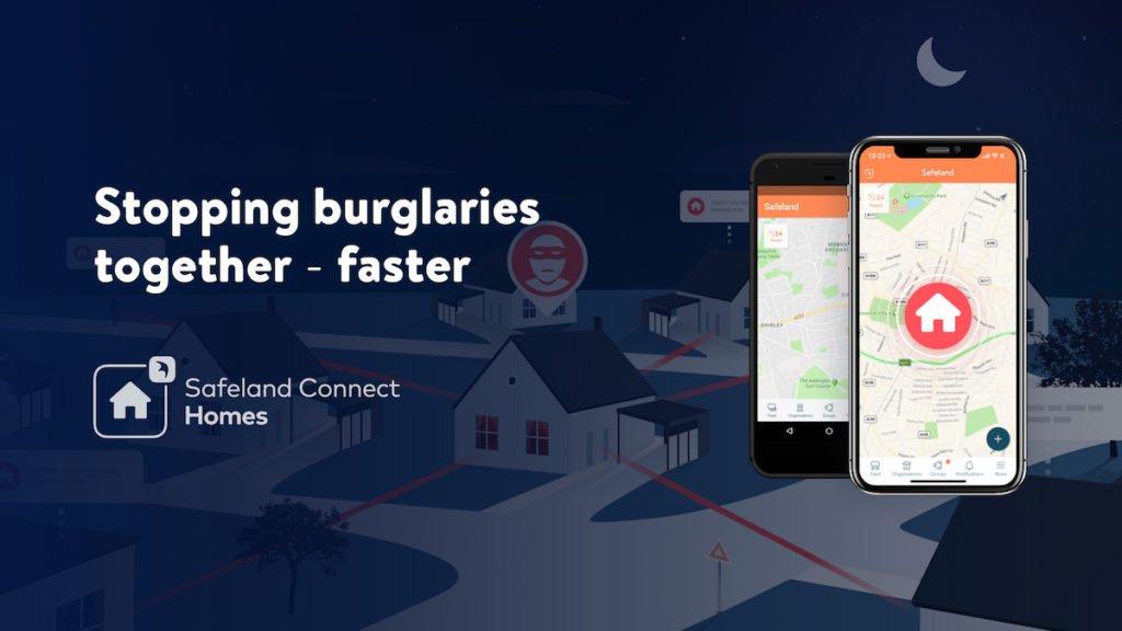 An illustration of how Safeland, a community policing app, works