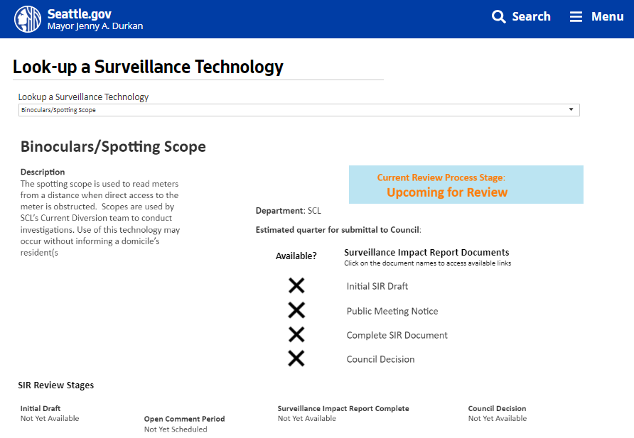 Seattle's 'Look-up a Surveillance Technology' online tool