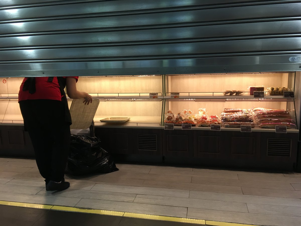 Food being thrown away as a shop closes