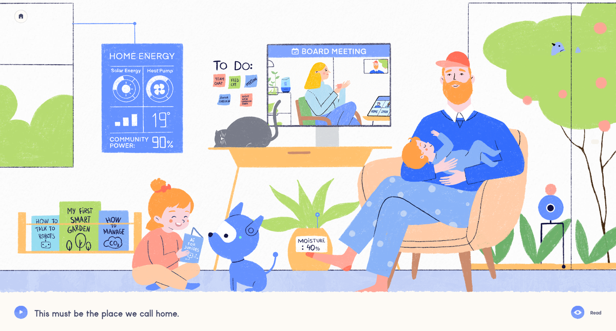 Illustration of people at home