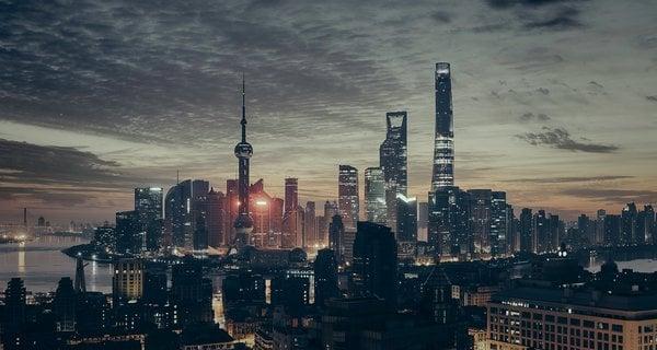 Shanghai skyline in the evening