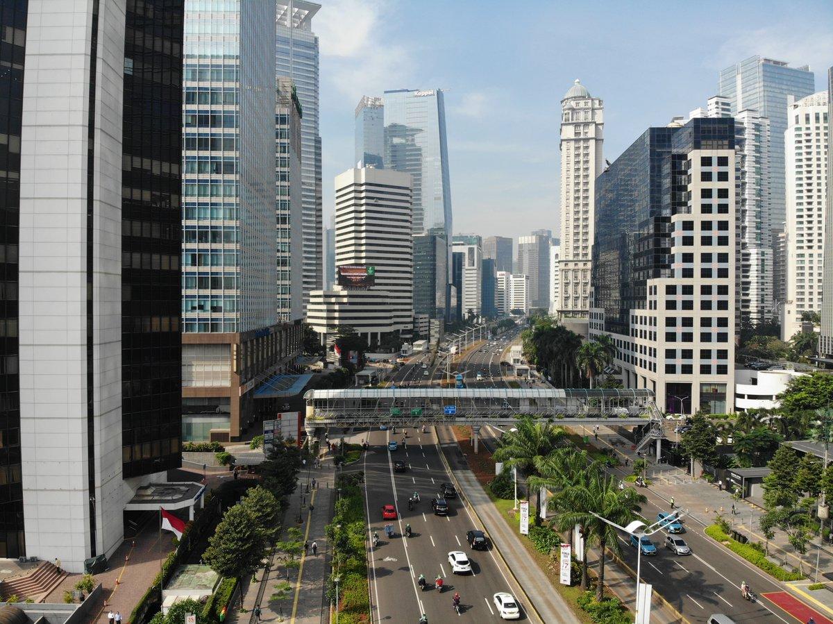 Overlooking a motorway in Jakarta - tall buildings in background