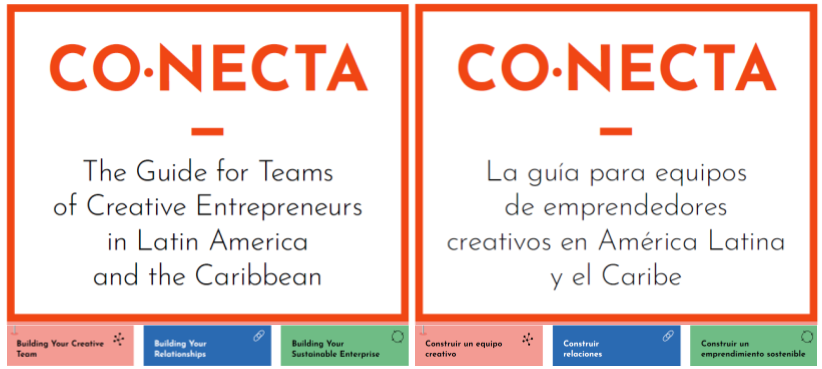Graphic outline of the CONECTA modules in English and Spanish