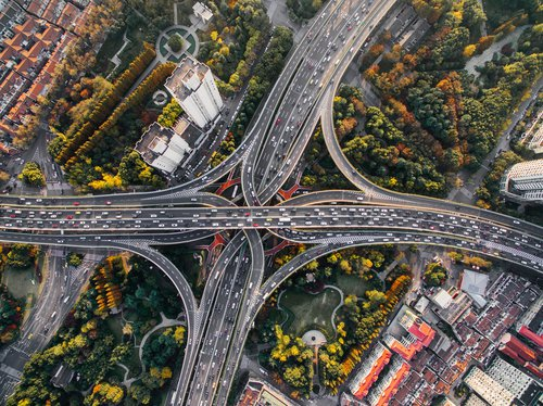 Arial view of motorways by a drone