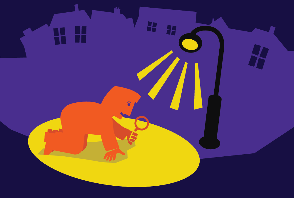 Graphic of man searching in street light