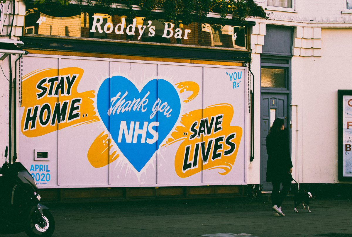 Save our NHS mural on closed shop shutters