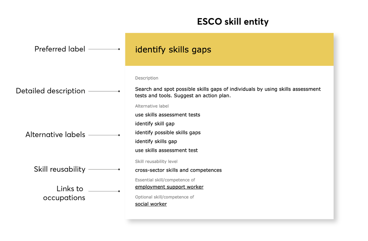 Example of an ESCO skill entity with the preferred label  'identify skills gaps'.
