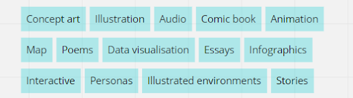 Potential creative outputs from the Future Visions workshops