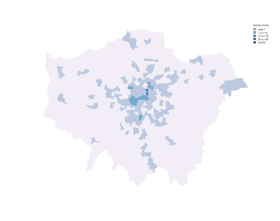 Distribution of open clubs in London