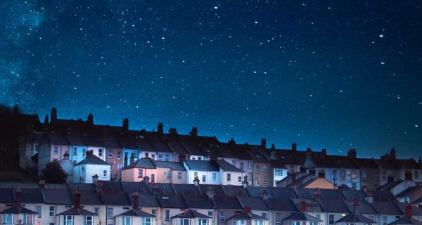 Houses with starry sky