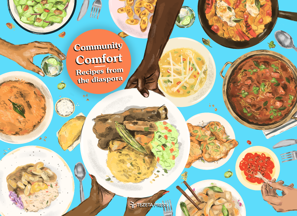 Community Comfort e-cookbook cover - illustration of hands passing dishes of food over a table