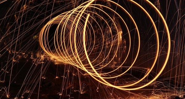 Sparks from a glowing spiral