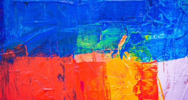 An abstract of a brightly coloured painting