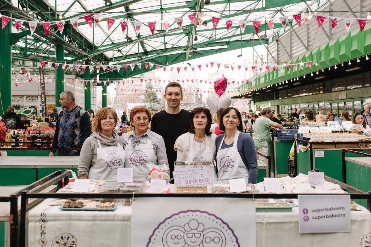 Mario Milakovic with Super Bake bakers - Creative Enterprise Programme case studies